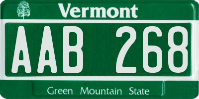 VT license plate AAB268