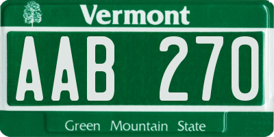 VT license plate AAB270