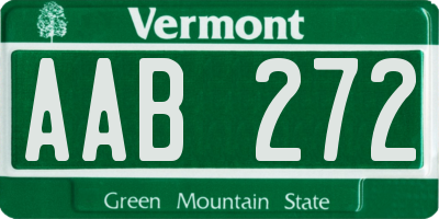 VT license plate AAB272