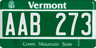 VT license plate AAB273