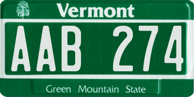 VT license plate AAB274