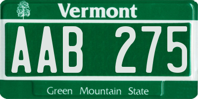 VT license plate AAB275