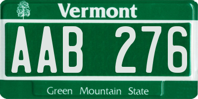 VT license plate AAB276