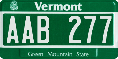 VT license plate AAB277