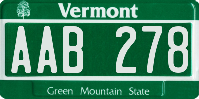 VT license plate AAB278