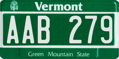 VT license plate AAB279