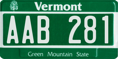 VT license plate AAB281