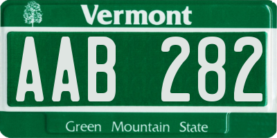 VT license plate AAB282