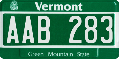 VT license plate AAB283