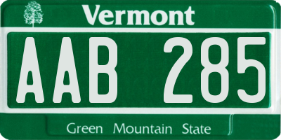 VT license plate AAB285