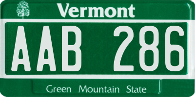 VT license plate AAB286
