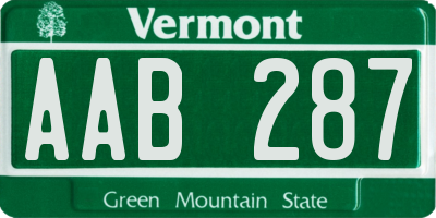 VT license plate AAB287