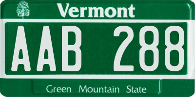 VT license plate AAB288