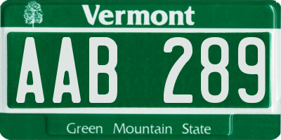 VT license plate AAB289
