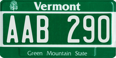 VT license plate AAB290