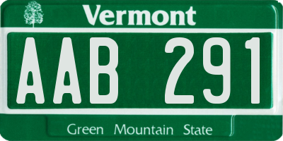 VT license plate AAB291
