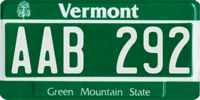 VT license plate AAB292