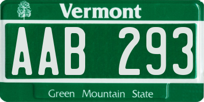 VT license plate AAB293
