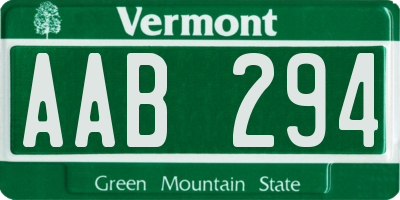 VT license plate AAB294