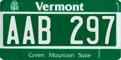VT license plate AAB297