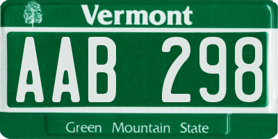 VT license plate AAB298