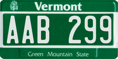 VT license plate AAB299