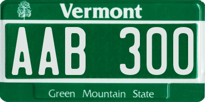 VT license plate AAB300
