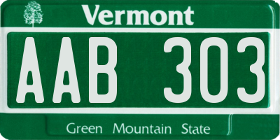 VT license plate AAB303
