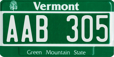 VT license plate AAB305