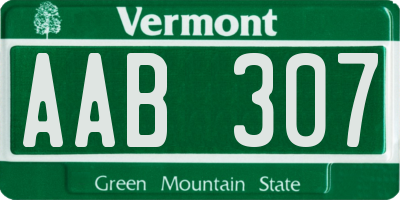 VT license plate AAB307