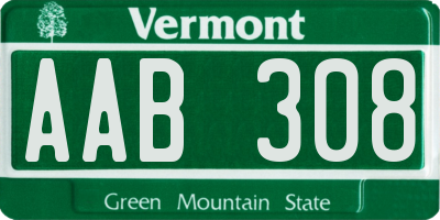 VT license plate AAB308