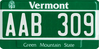 VT license plate AAB309