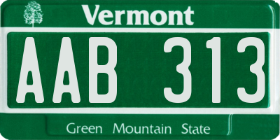 VT license plate AAB313