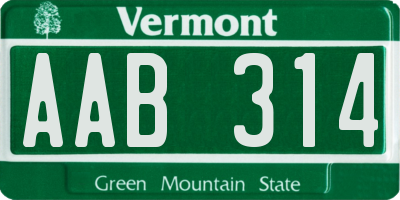 VT license plate AAB314