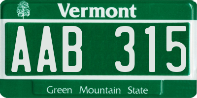 VT license plate AAB315