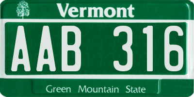 VT license plate AAB316