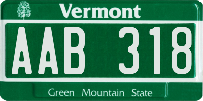 VT license plate AAB318