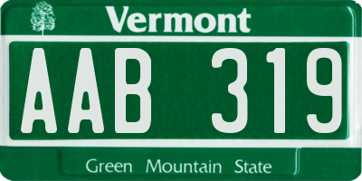 VT license plate AAB319