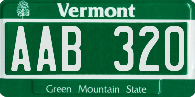 VT license plate AAB320