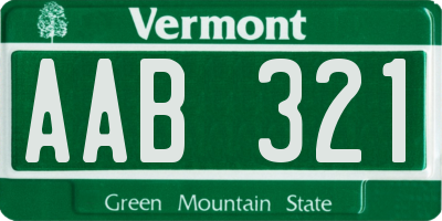 VT license plate AAB321