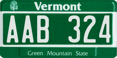 VT license plate AAB324