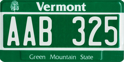 VT license plate AAB325