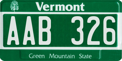 VT license plate AAB326