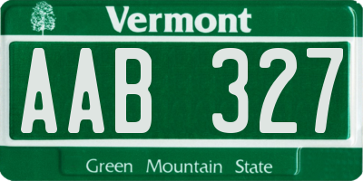 VT license plate AAB327