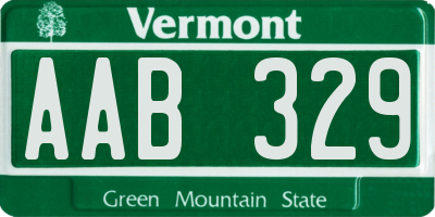 VT license plate AAB329