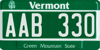 VT license plate AAB330