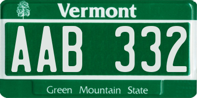 VT license plate AAB332