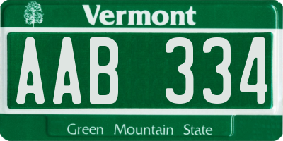 VT license plate AAB334