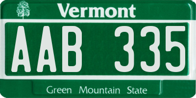 VT license plate AAB335