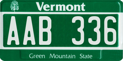 VT license plate AAB336